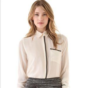 Club Monaco Patricia Silk Blouse Top Leather XS